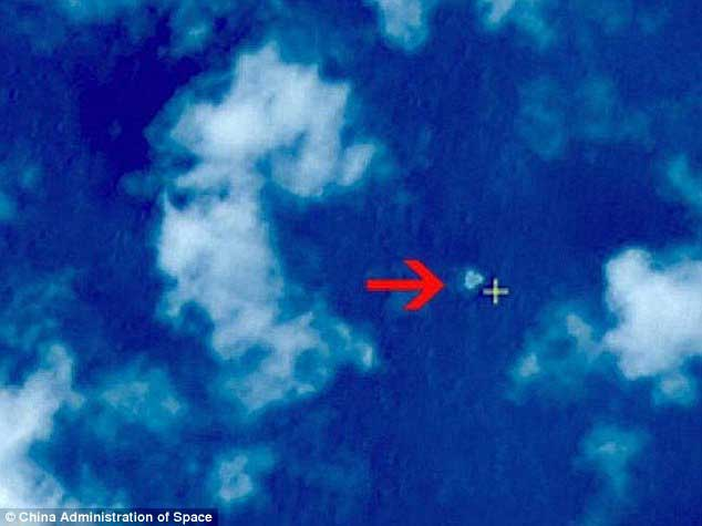 Location? This image released by Chinese authorities potentially shows a large crash site of what could be Malaysian Airlines Flight 370