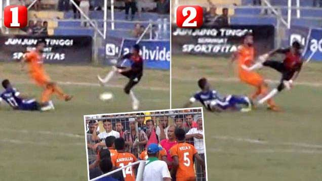 Indonesian footballer dies following horror tackle (Video)