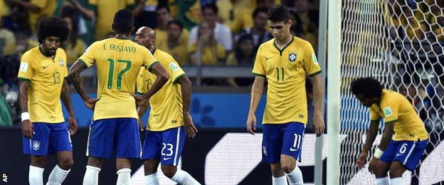 Brazil players were stunned after Khedira scored Germany's fourth goal in sixth minutes - and fifth overall
