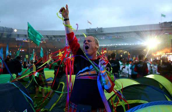 A proud Scotsman celebrates during the Commonwealth Games closing ceremony