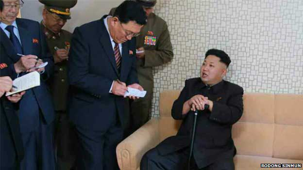 North Korean newspaper Rodong Sinmun carried several images said to be of Kim Jong-un's visit