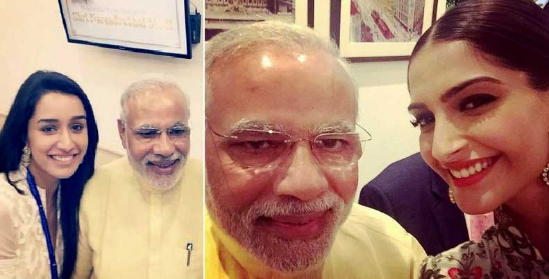 Bollywood stars in selfie craze with Narendra Modi (Photos)