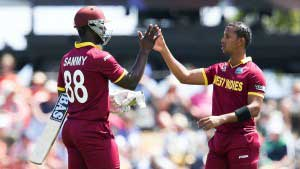Darren Sammy and Lendl Simmons who put up a crucial 154 run Partnership in 21 Overs