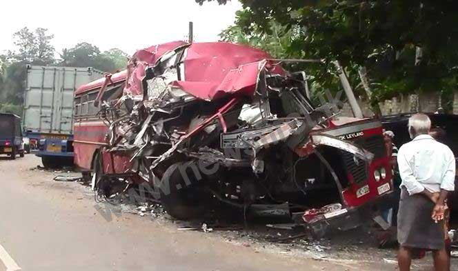 Several injured in Madampe bus – container truck accident