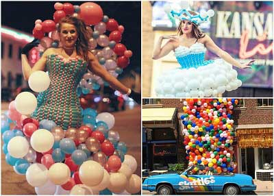 Woman makes incredible dresses out of balloons