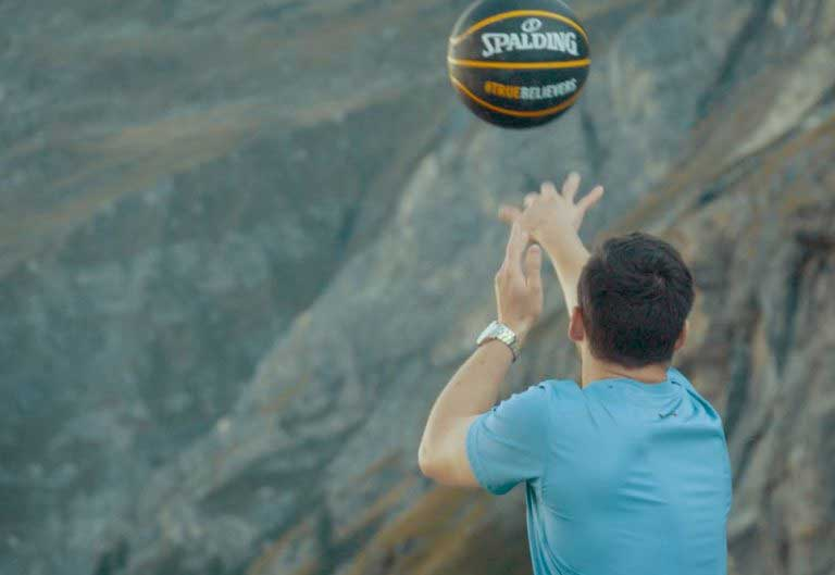Incredible basketball throw off dam breaks world record for highest ever shot made