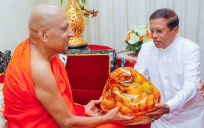 President Maithripala Sirisena recieves blessings from the Maha Sangha