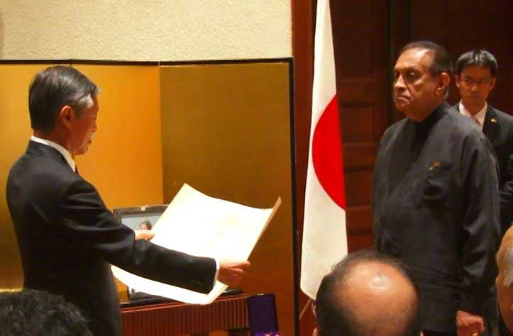 "Japanese Govt confers Karu Jayasuriya with ""The Grand Cordon of the Order of the Rising Sun"""