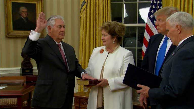 Rex Tillerson sworn in as the 69th US Secretary of State