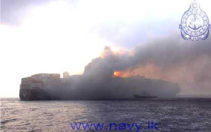 Fire on MSC Daniela continues to rage