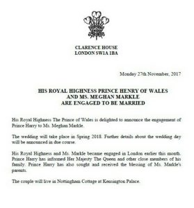 Statement from the Buckingham Palace