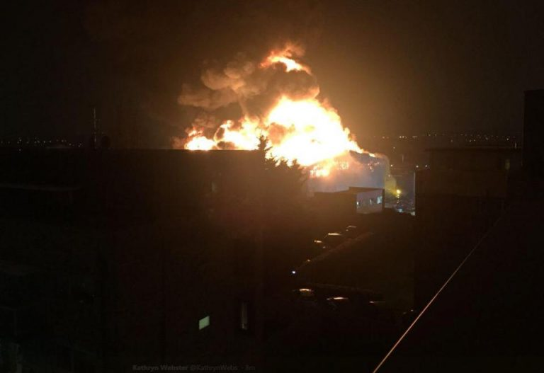 London fire crews tackle huge paint factory blaze