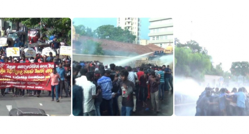 Unruly student protesters dispersed by Police using tear gas and water cannons