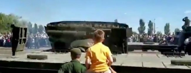 Soviet tank topples over after military parade in Russia