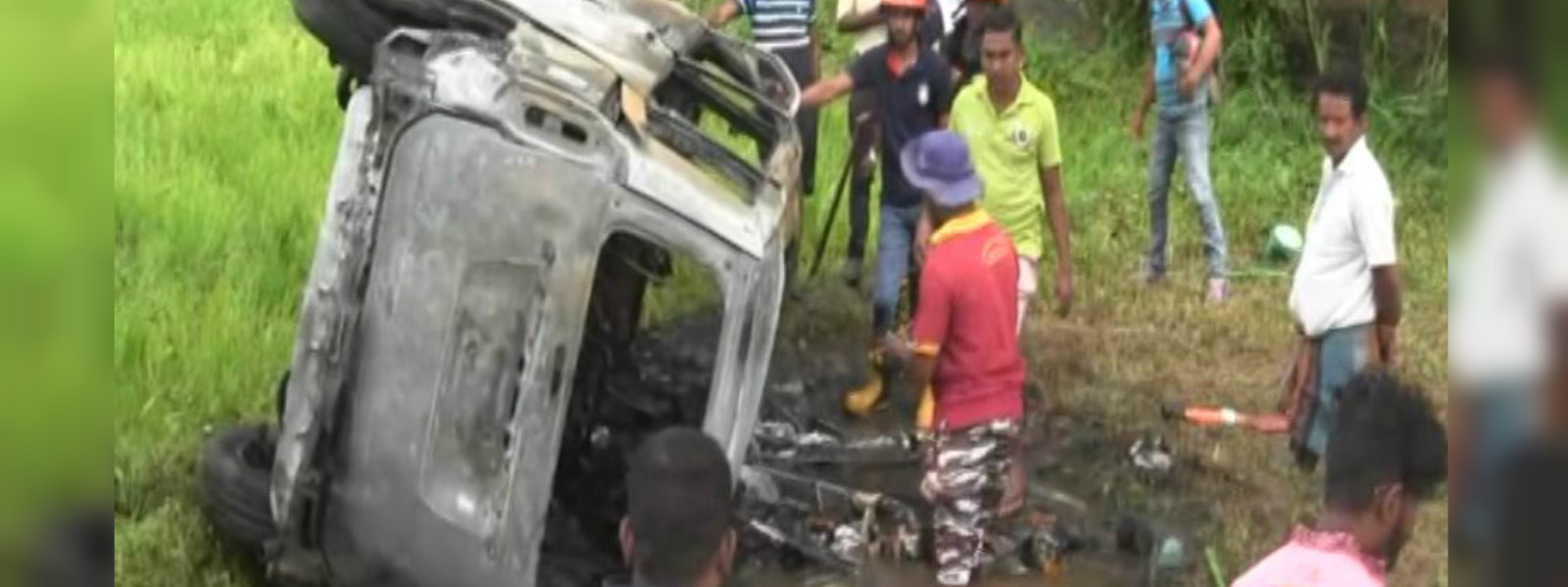 Van destroyed in a fire following an accident