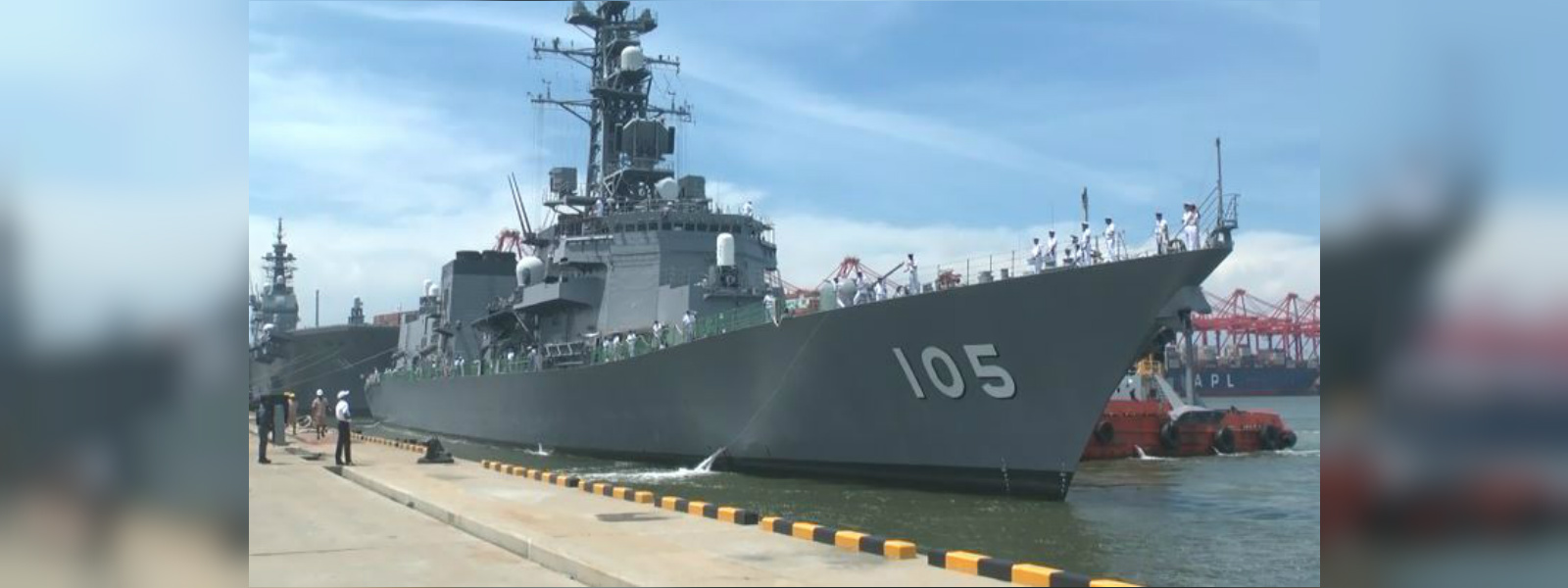 Japanese helicopter carrier Kaga arrives in Colombo