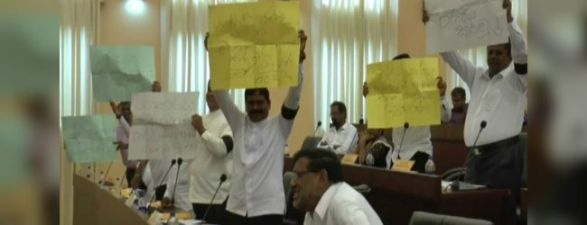 UNPers launch protest inside Hambantota Urban Council