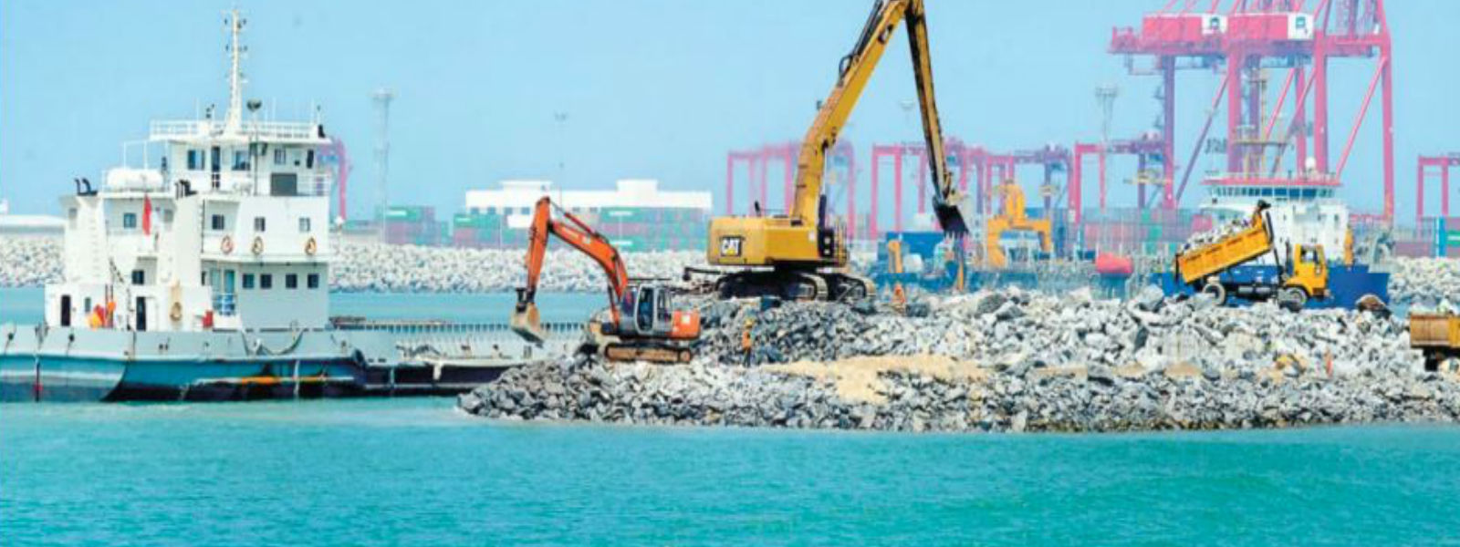 Land reclamation for Colombo Port city ends