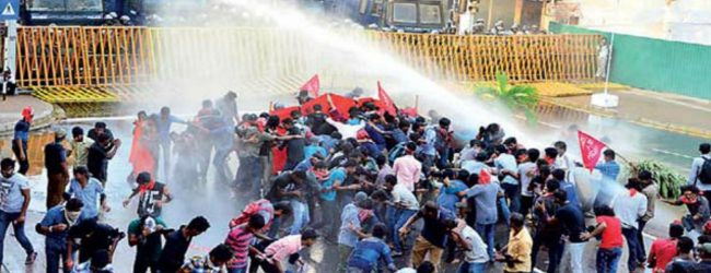 Tear gas and water cannons used to disperse Inter-University protest