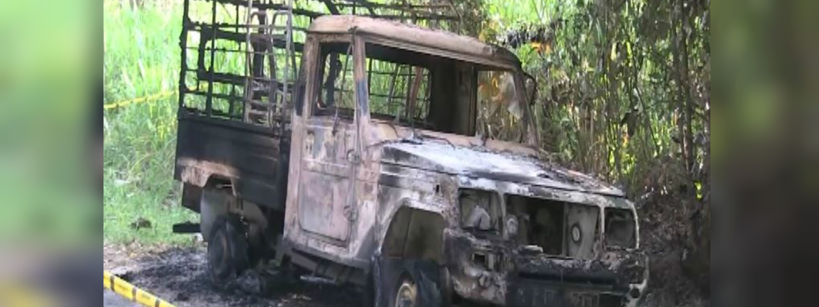 Cremated body discovered in a burnt cab